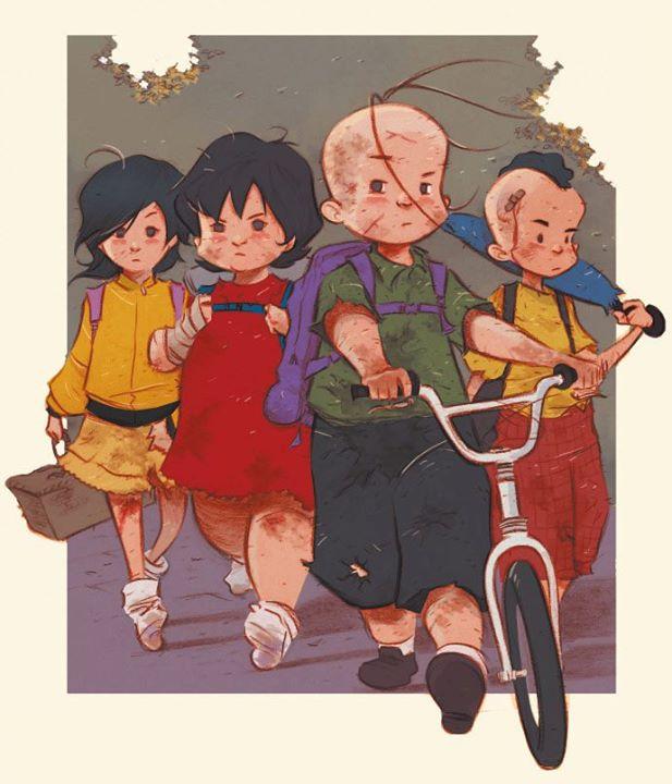 ilustração que aparece os quatro personagens: Cebonha (na frente) a sua esquerda, Cascão. E a sua direita, Mônica e Magali.